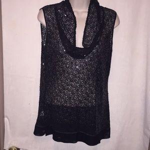 Calvin Klein sequined black top.  Size 6